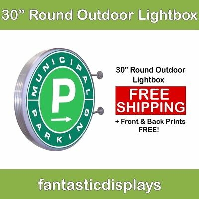 "30"" Round Outdoor Light Box LED Sign for Sidewalk Advertising with Free Printing"