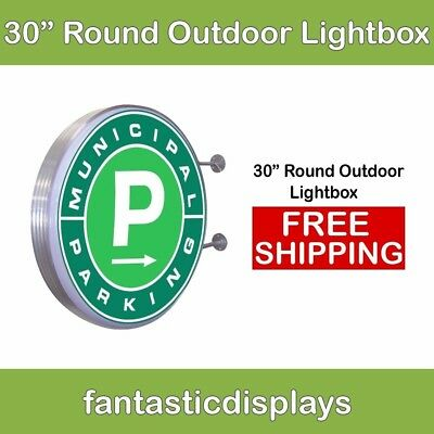 "30"" Round Outdoor Light Box LED Sign for Sidewalk Advertising - Hardware Only"