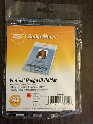 GBC Badgemates Clear Vertical Badge Holders 3747218 Free Shipping