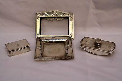 Magnificent Collection Of 4P Art Nouveau Tiffany & Co. Sterling Silver Desk Set