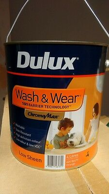 DULUX WASH and WEAR, INTERIOR, LOW SHEEN, 4 Litres, ORANGE PAINT
