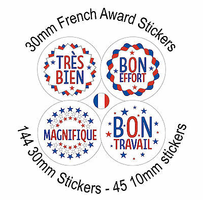 French Teacher Reward Stickers, 144 30mm labels  great for schools, primary.
