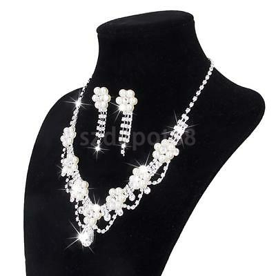 Wedding Bridal Jewelry Set Flower Pearls Crystal Rhinestone Necklace Earring