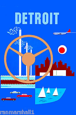 Detroit Michigan Auto United States of America Travel Advertisement Art Poster