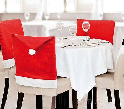 6X Santa Red Hat Chair Covers Christmas Decorations Dinner Chair Xmas Cap UUK*