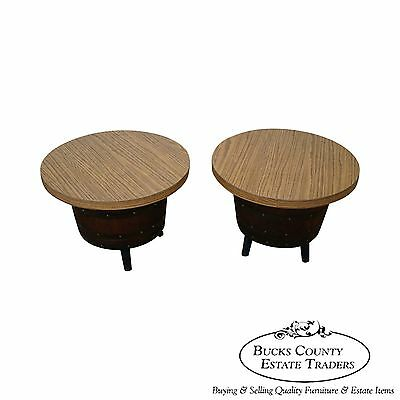 Vintage Pair of Whiskey Barrel Oak End Tables