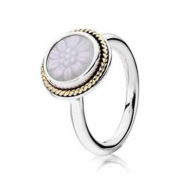 Pandora | Daisy Signet Mother Of Pearl Ring 190859Mop *new* 14K Gold Silver Rare