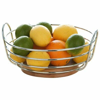 Premier Housewares Round Chrome Wire Fruit Bowl with Rubber Wood Base