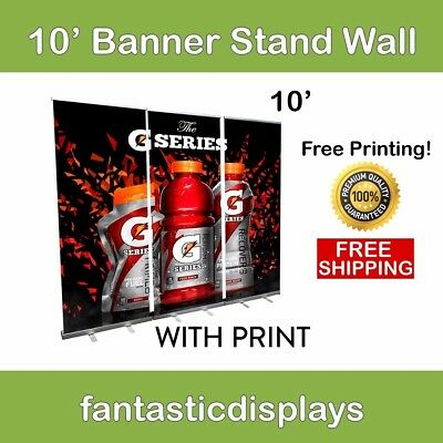 10ft ECONO Banner Stand Wall (3 Banner Stands with Prints Included)
