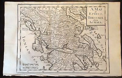 1730 DISPLAYABL Copper-Plate MAP ENGRAVING Ancient  Roman Empire EPIRUS THESSALY