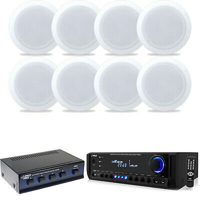 "4  5.25"" In Ceiling Speakers, Speaker Selector, Bluetooth Home Theatre Receiver"