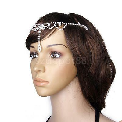 Silver Bridal Wedding Crystal FRONTLET Forehead Band Headpiece Hair Clips
