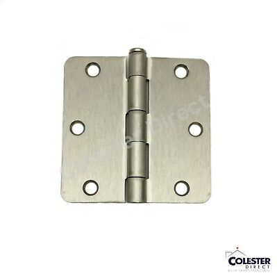 "Satin Nickel Interior Door Hinge 3.5"" with 1/4"" corner radius 3 1/2 inches"