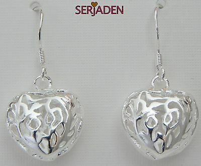 Heart Earrings Shiny Silver Plated 15 * 30mm Long Nickle Lead Cadmium Free ER024