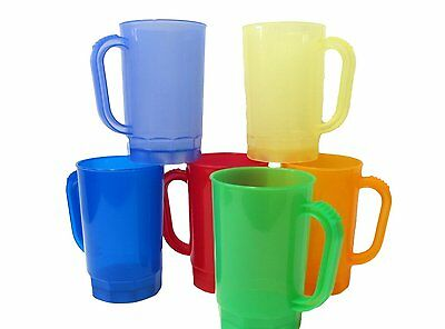 12  Mix of  Translucent 16 Oz 1 Pint Plastic Beer Mugs Mfg USA Lead Free No BPA