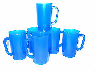 10 Blue Translucent Beer Mugs Mfg USA  Dishwasher Safe Top Shelf  Recyclable