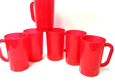 75 -1 Pint 16 Ounces Red Translucent Beer Mugs  Stein Mfg USA Lead Free No BPA