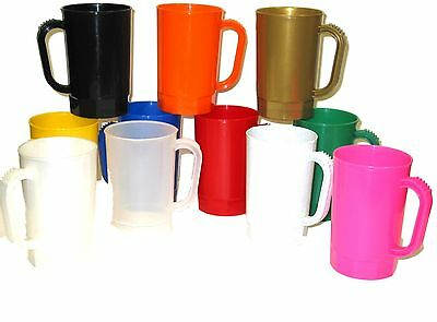 10 1 Pint Plastic Beer Mugs Choice 14 Colors Made in America Dishwasher Safe