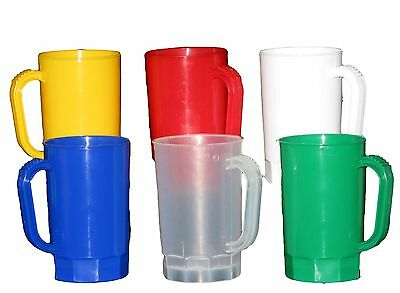 Red, Yellow, Pearl White, Blue, Frosted, Green 1 Pint Beer Mugs, Pack 6 Mfg USA