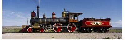 Poster Print Wall Art entitled Train engine on a railroad track, Locomotive 119,