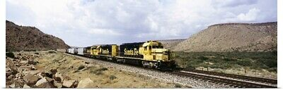 Poster Print Wall Art entitled Train on a railroad track, Santa Fe Railroad,
