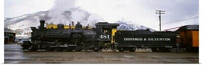 Poster Print Wall Art entitled Steam train on railroad track, Durango and