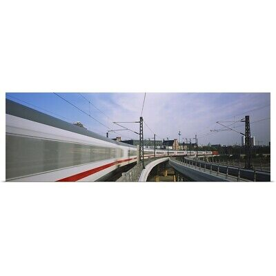 Poster Print Wall Art entitled Train on railroad tracks, Central Station,