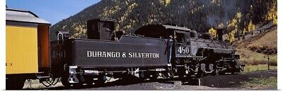 Poster Print Wall Art entitled Train on a railroad track, Durango And Silverton