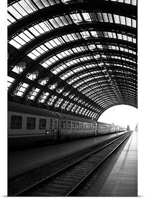 Poster Print Wall Art entitled Milan Central Train Station with Railroad Tracks,