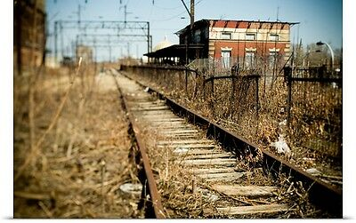 Poster Print Wall Art entitled Abandoned Train Tracks and Railroad Station