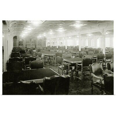 Poster Print Wall Art entitled RMS Titanic: 1st Class Dining Saloon on D-Deck,