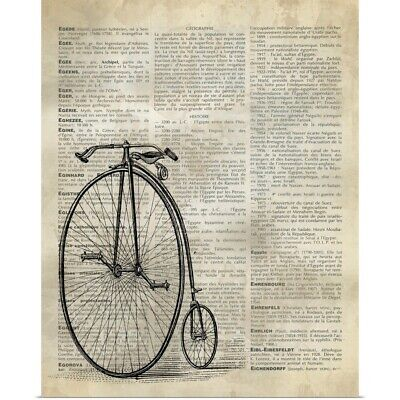 MOUSE CUTE DRESSED ANIMAL BIKE BICYCLE FLOWERS DICTIONARY STYLE ART PRINT POSTER