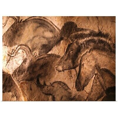 Poster Print Wall Art entitled Stone-age cave paintings, Chauvet, France