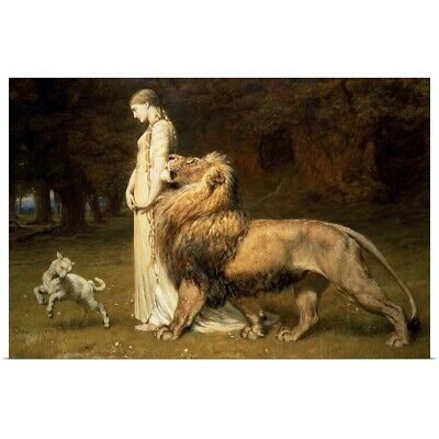 Poster Print Wall Art entitled Una and the Lion, from Spenser's Faerie Queene,