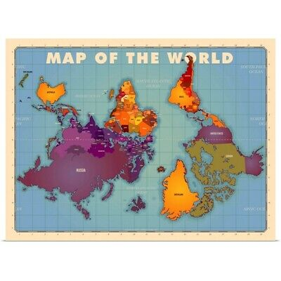 Upside Down Map of the World Poster Art Print, Map Home Decor