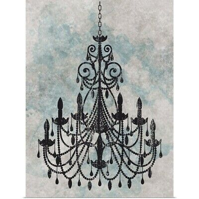 Poster Print Wall Art entitled Chandelier with a splash of blue I