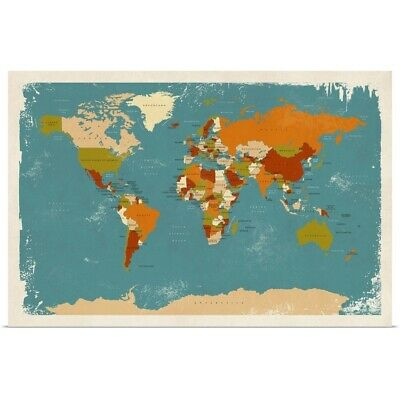 "Poster Print ""Retro Political Map of the World"""