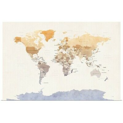 "Poster Print ""Watercolour Political Map of the World"""
