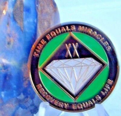 Narcotics Anonymous AA NA Green 20 Year Recovery Medallion Coin Chip Sobriety