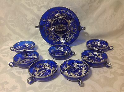 1930 8pc Cobalt w/Silver Overlay Ice Cream/Dessert Set w/Lg Serv Bowl; Great