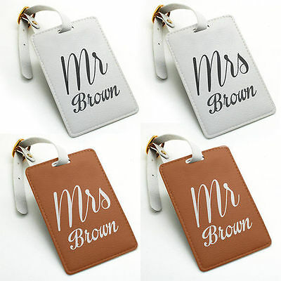 Personalized PU Luggage Tag, Bag Tag, Travel Tag, Mr and Mrs Pair Set (2 pcs)