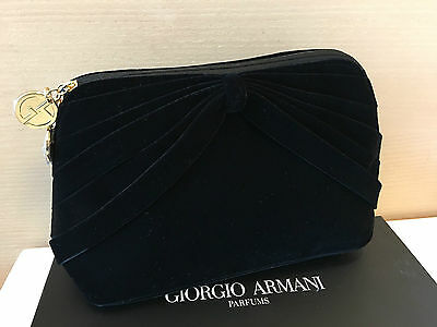 GIORGIO ARMANI Black Velvet Evening Party Bag Cosmetic Bag Clutch Pouch NIB