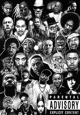 "Rap Gods (Rapper Collage) Silk Cloth Poster 20 x13""  Decor 06"