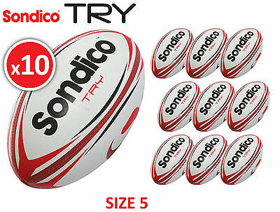 10 x Sondico Try Size 5 Trainning Rugby Balls Brand New