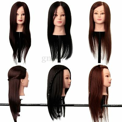 """22"""" 100% Real Human Hair Hairdressing Training Head Practice Mannequin & Clamp"""