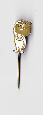 Vintage metal ESSO Logo Oil Fuel Petrol pin badge 1960s Mr. Drop Man Original