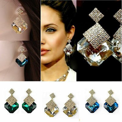 1 Pair Women Rhinestone Crystal Dangle Ear Studs Gold Plated Earrings Jewelry