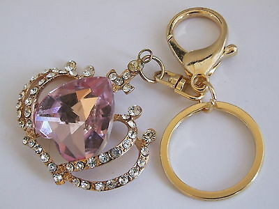 Handbag Buckle Charms Clear & Pink Crystal Heart Crown Keyrings Key Chain