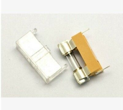 10pcs Panel Mount PCB Fuse Holder Case w Cover 5x20mm