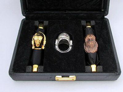 Star Wars Official Japan Sterling Silver Ring Boxed C-3PO R2-D2 Chewbacca B